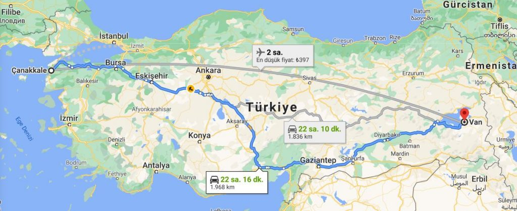 Van Çanakkale Arası Kaç KM