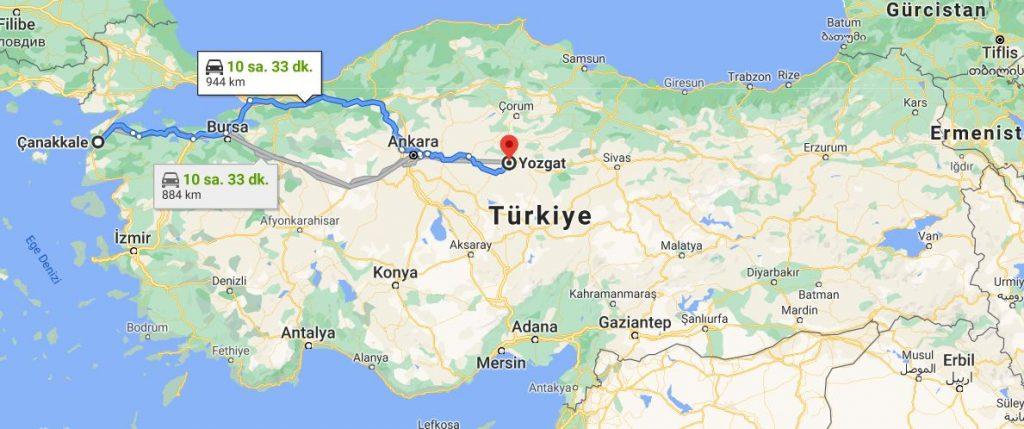 Çanakkale Yozgat arası kaç km