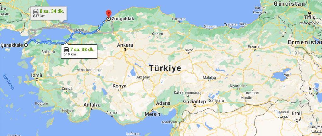 Çanakkale Zonguldak arası kaç km