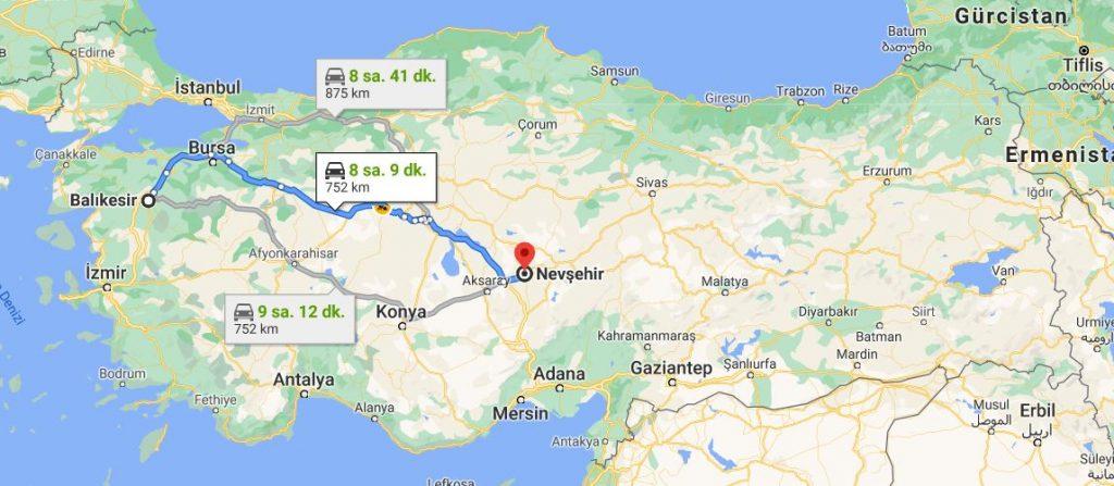 Balıkesir Nevşehir Arası Kaç KM