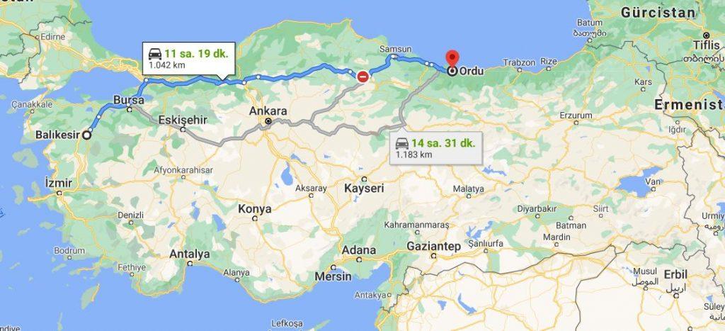 Balıkesir Ordu Arası Kaç KM