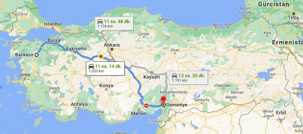 Balıkesir Osmaniye Arası Kaç KM