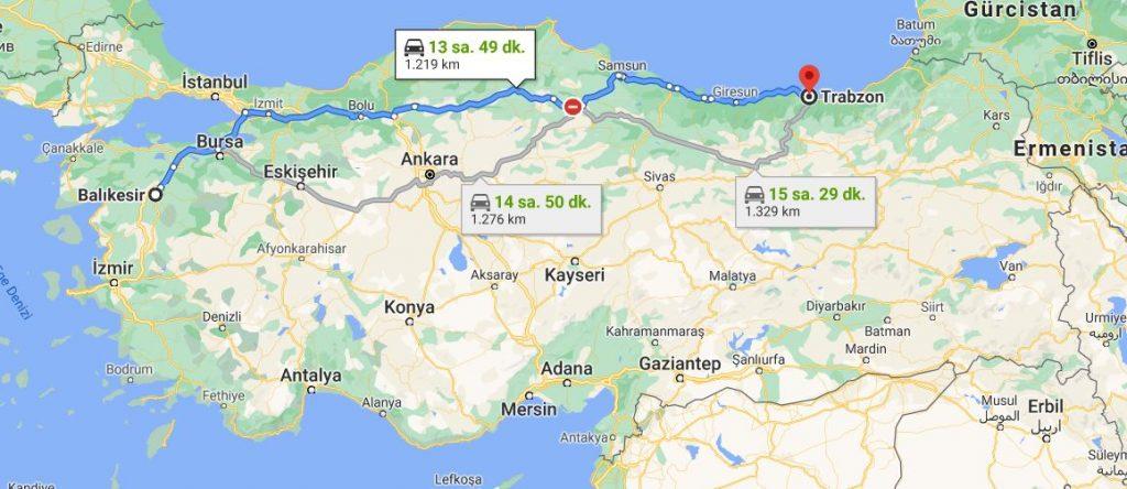 Balıkesir Trabzon Arası Kaç KM