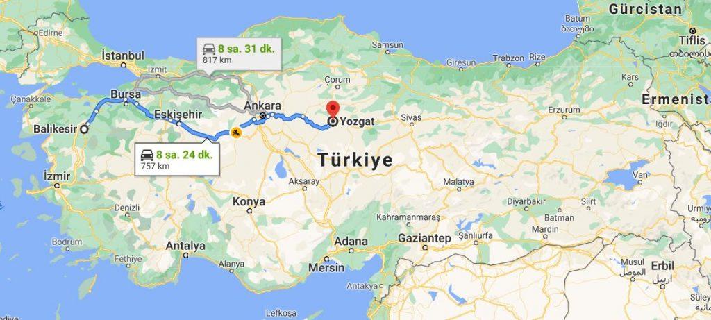 Balıkesir Yozgat Arası Kaç KM