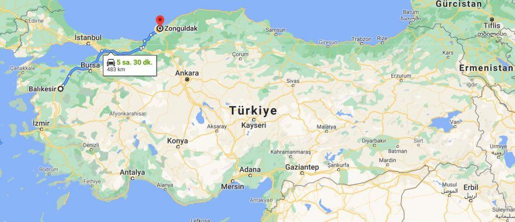 Balıkesir Zonguldak Arası Kaç KM