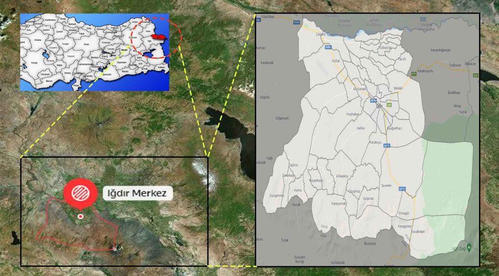 Iğdır Merkez mahalle haritası