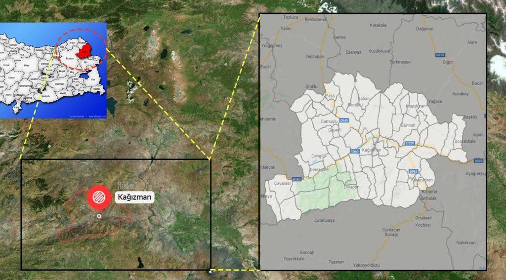 Kağızman mahalle haritası