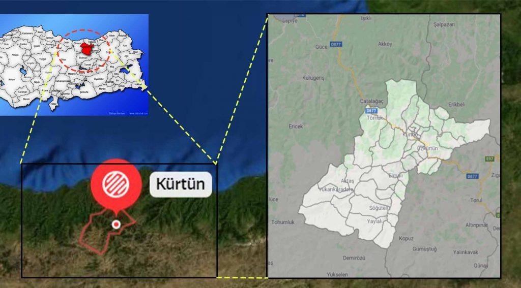 Kürtün mahalle haritası