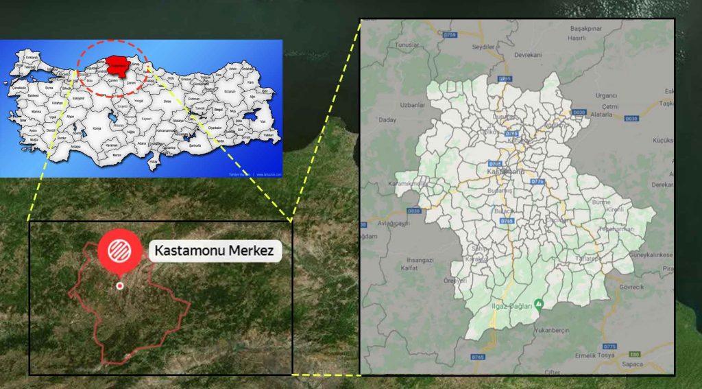 Kastamonu Merkez mahalle haritası
