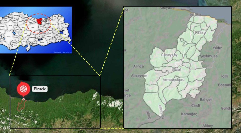 Piraziz mahalle haritası