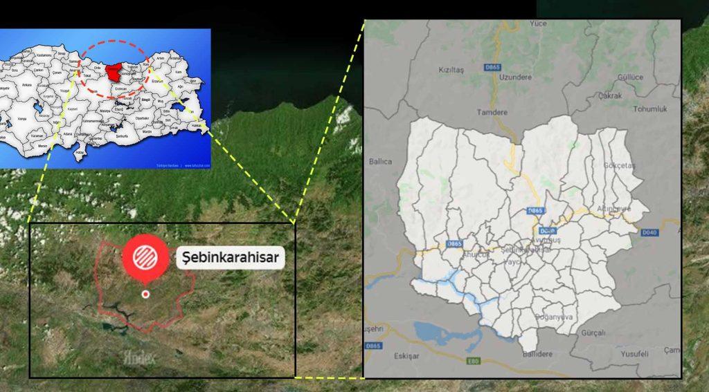 Şebinkarahisar mahalle haritası