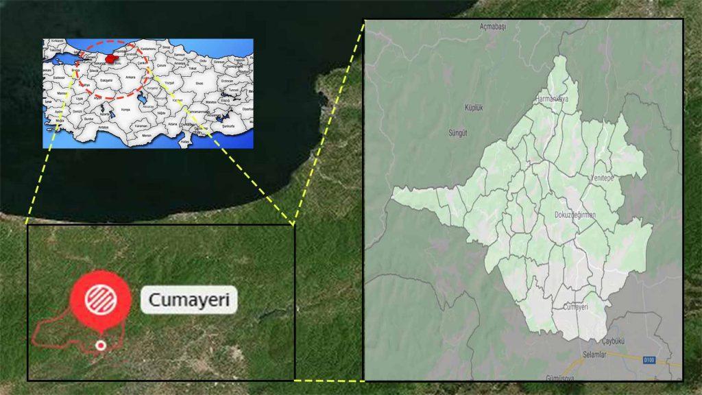 Cumayeri mahalle haritası