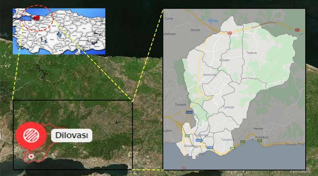 Dilovası mahalle haritası