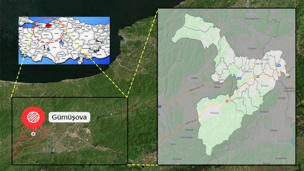 Gümüşova mahalle haritası