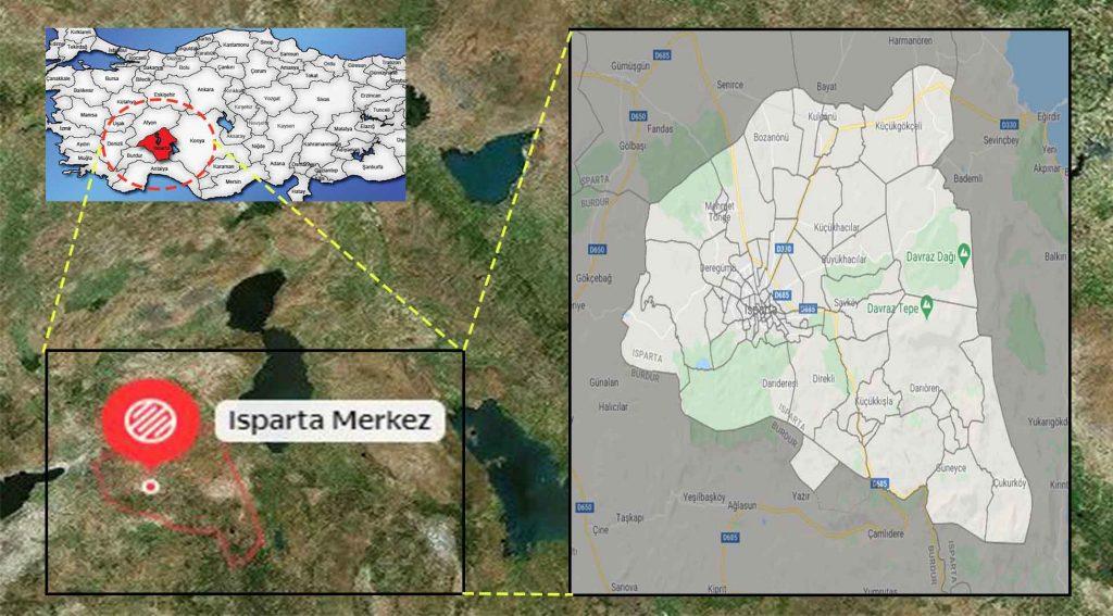 Isparta merkez mahalle haritası