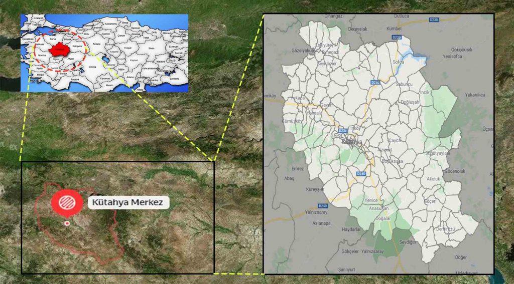 Kütahya merkez mahalle haritası