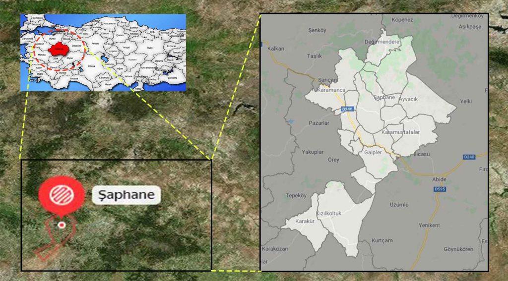 Şaphane mahalle haritası