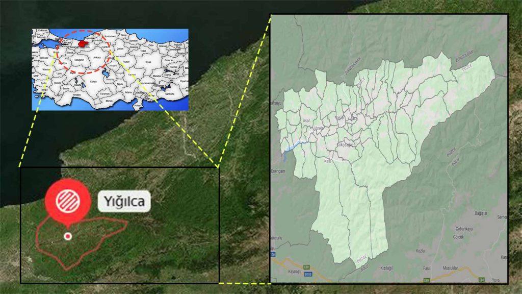 Yığılca mahalle haritası