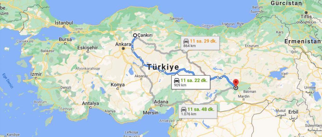 Diyarbakır Çankırı Arası Kaç KM