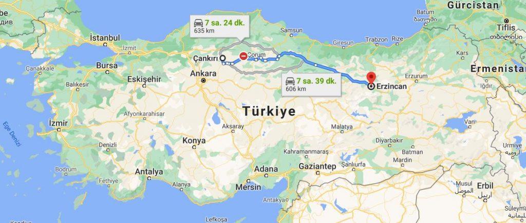 Çankırı Erzincan Arası Kaç KM