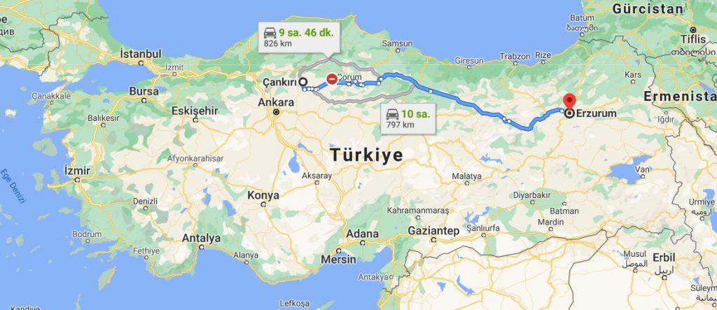 Erzurum Çankırı Arası Kaç KM