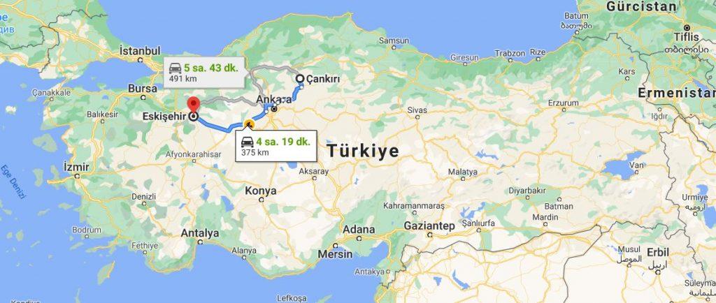 Eskişehir Çankırı Arası Kaç KM