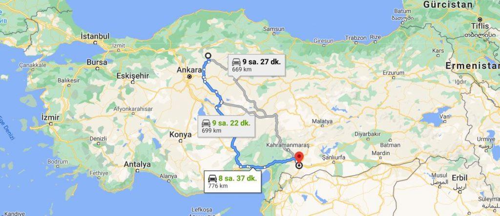 Gaziantep Çankırı Arası Kaç KM