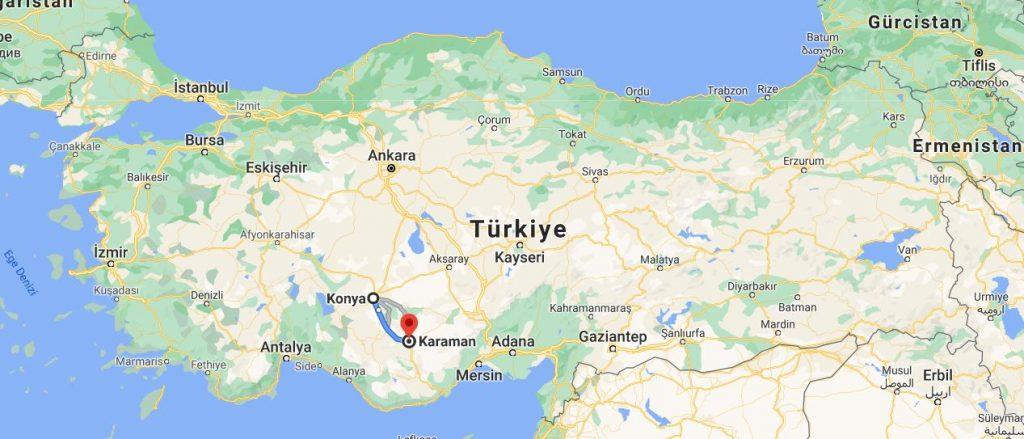 Konya Karaman Arası Kaç KM