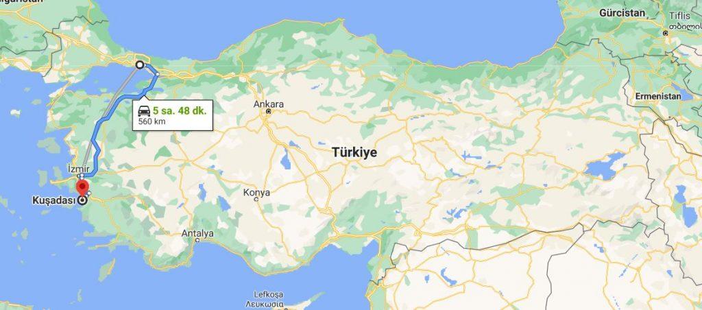İstanbul Kuşadası Arası Kaç KM