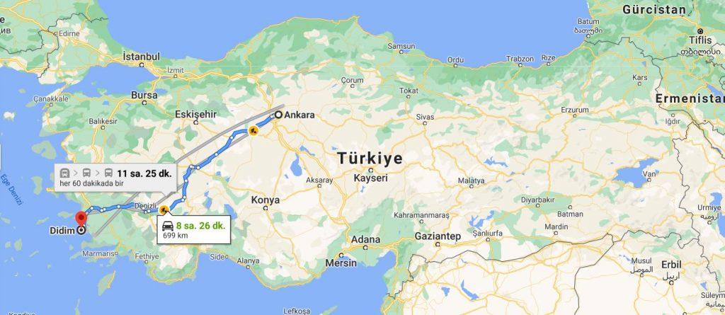 Ankara Didim Arası Kaç KM