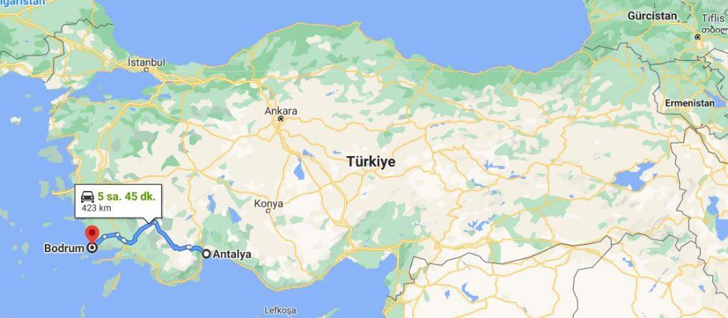 Antalya Bodrum Arası Kaç KM