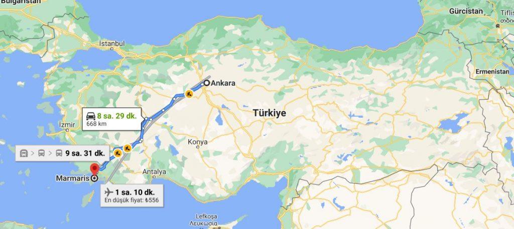 Ankara Marmaris Arası Kaç KM