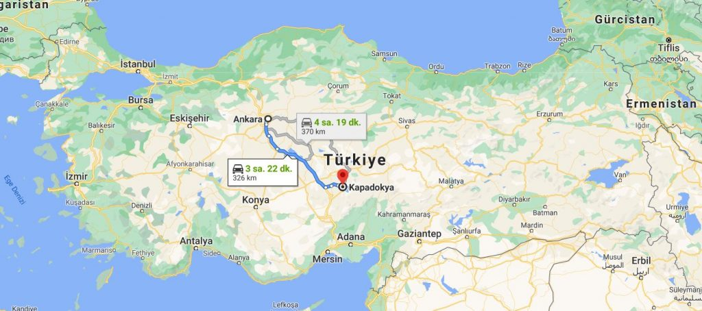 Ankara Kapadokya Arası Kaç KM