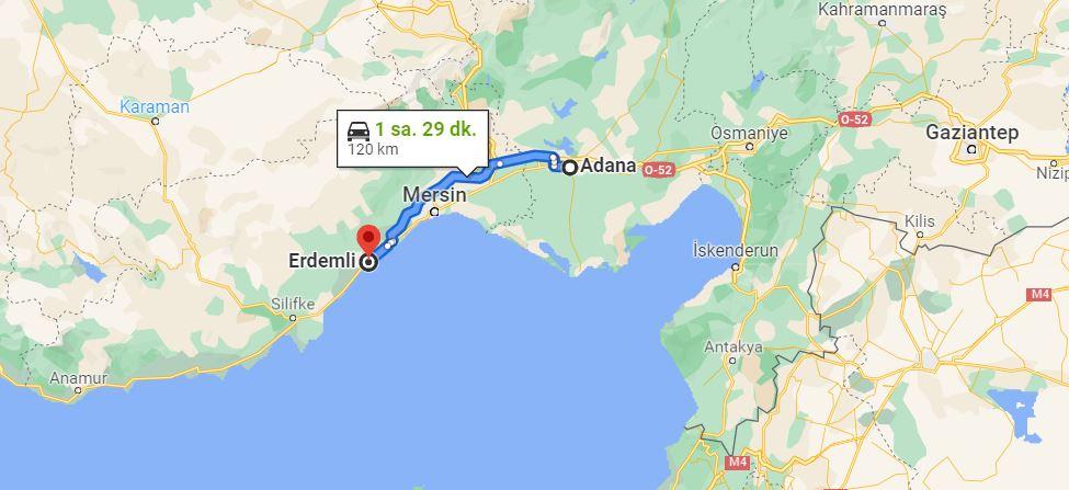 Adana Erdemli Arası Kaç KM