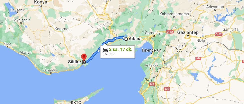 Adana Silifke Arası Kaç KM