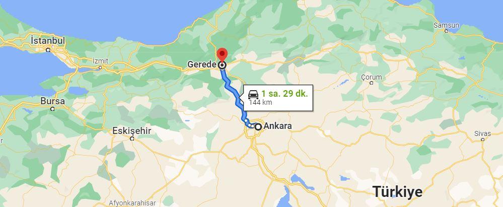 Ankara Gerede Arası Kaç KM