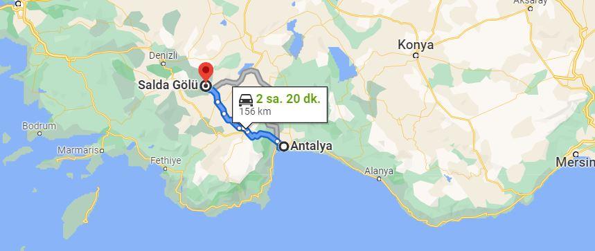 Antalya Salda Gölü Arası Kaç KM