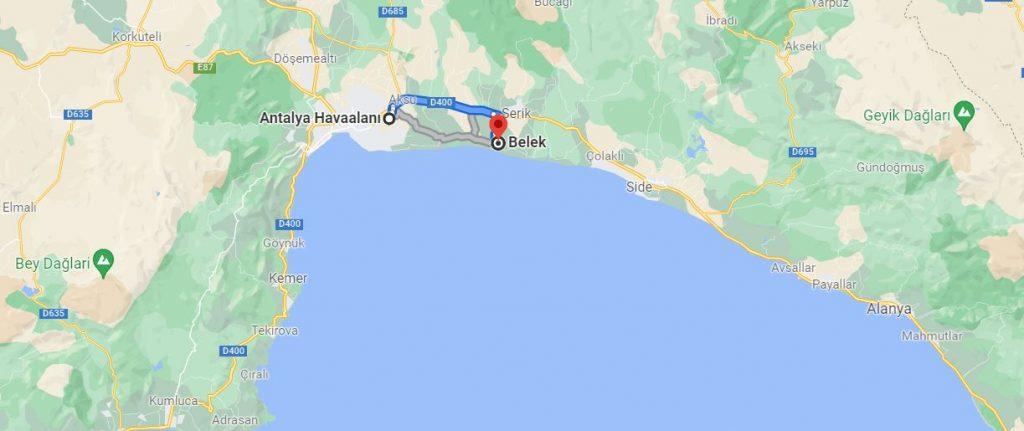 Antalya Havalimanı Belek Arası Kaç KM
