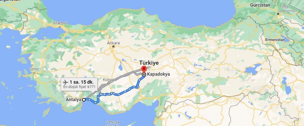 Antalya Kapadokya Arası Kaç KM