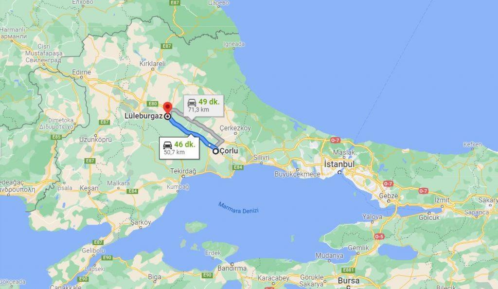 Çorlu Lüleburgaz Arası Kaç KM