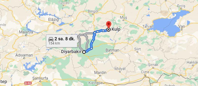 Diyarbakır Kulp Arası Kaç KM