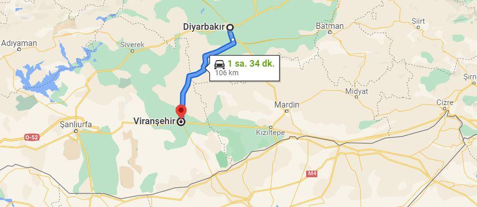 Diyarbakır Viranşehir Arası Kaç KM