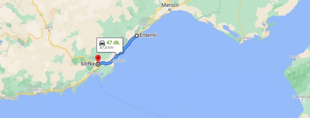 Erdemli Silifke Arası Kaç KM