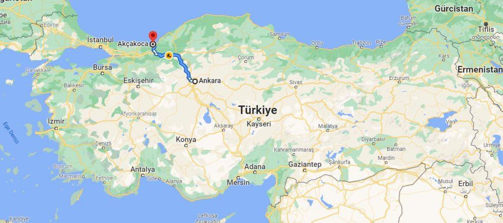 Ankara Akçakoca Arası Kaç KM