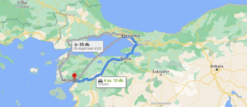 İstanbul Akçay Arası Kaç KM