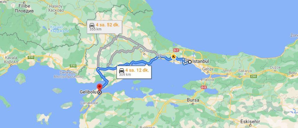 İstanbul Gelibolu Arası Kaç KM