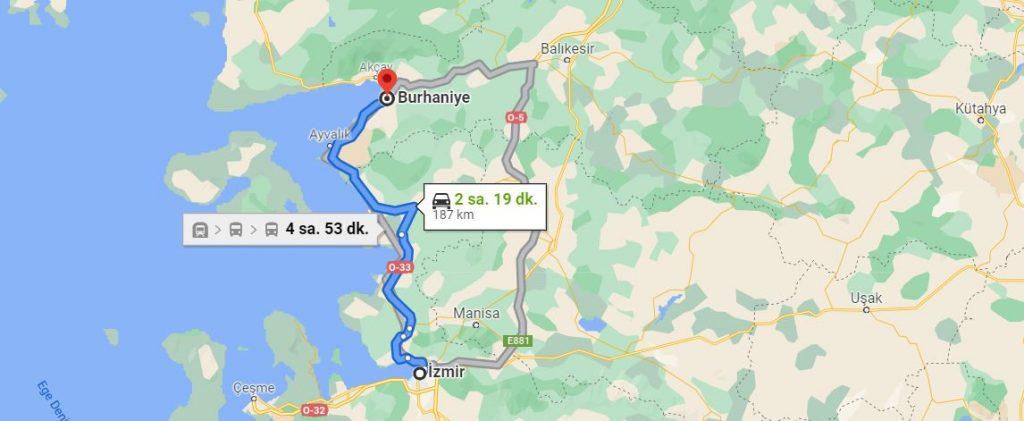 İzmir Burhaniye Arası Kaç KM
