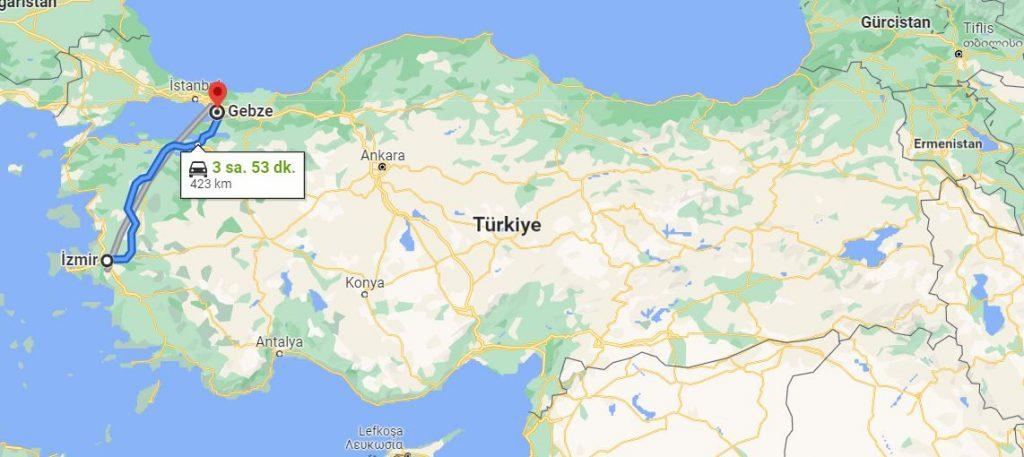 İzmir Gebze Arası Kaç KM