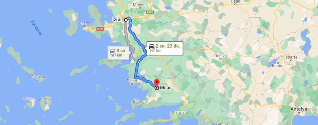 İzmir Milas Arası Kaç KM