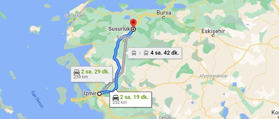 İzmir Susurluk Arası Kaç KM